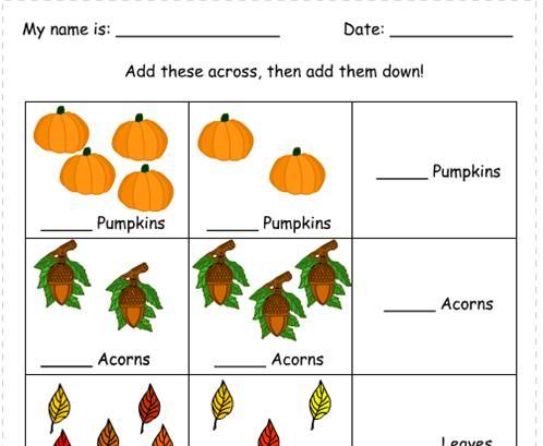 Math Worksheets fall math worksheets : Number Names Worksheets » Autumn Activity Sheets - Free Printable ...