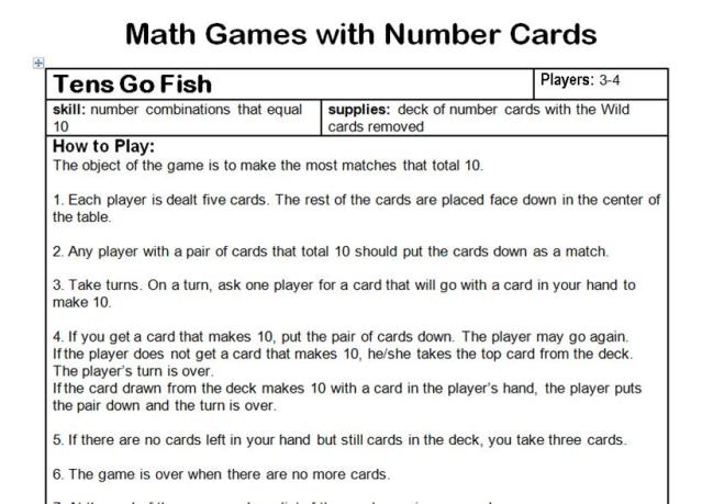 Math games cards second story window for The rules of go fish