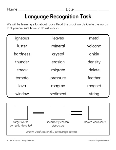 Knowing a Word: Assessing Vocabulary - Second Story Window